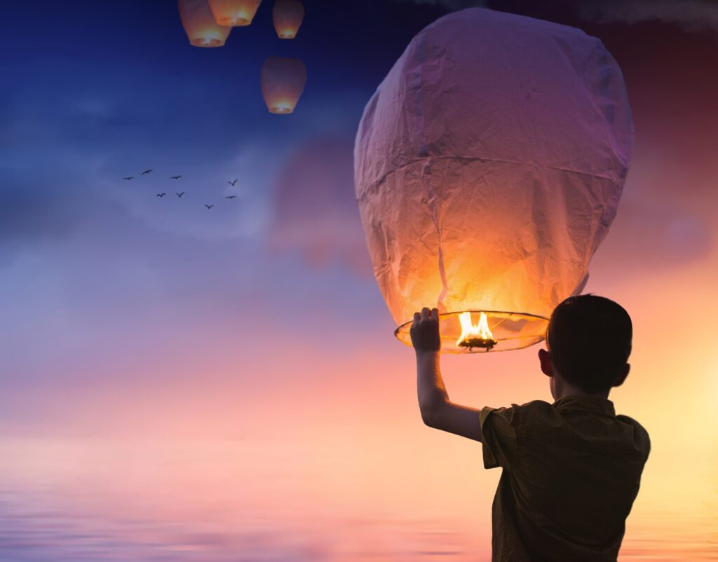 balloon, chinese lanterns, lantern